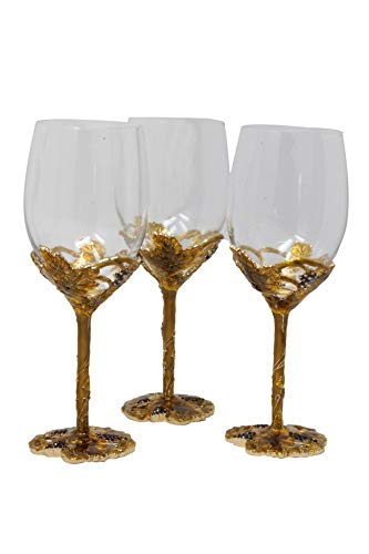 RORO Inspired Enameled and Jeweled Bohemian Crystal Wine Goblets Glasses Set with Jug, Wedding Gift, Luxury Home Accessories