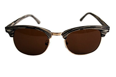 Unisex Club Shape Sunglasses Wooden Effect Plastic Metal Frame Anti-Glare Anti-Reflective Brown Lens