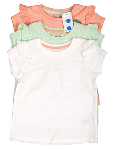 Ex-Highstreet Pack of 3 Girls Short Sleeves Cotton T-Shirt, Summer Top, Frilled Sleeves, Fashion T-Shirts in Peach, Mint and White