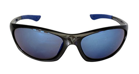 Foster Grant SPVL14926 FITNESS RV VL FG117 Unisex Wrap Style, Full Frame Sports Sunglasses Black Plastic Frame & Arms Blue Mirror UV400 Lenses 100% UV Protection CAT 2