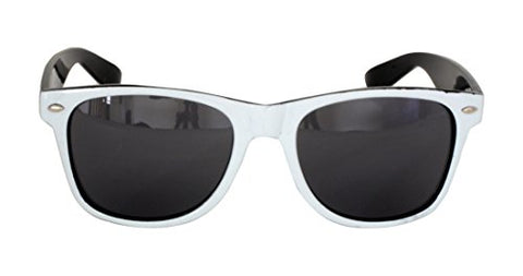Foster Grant SPVL15727 FG116 Men's Rounded Square, Full Frame Sunglasses Black & White Plastic Frame & Arms UV400 Black Lenses 100% UV Protection CAT 2