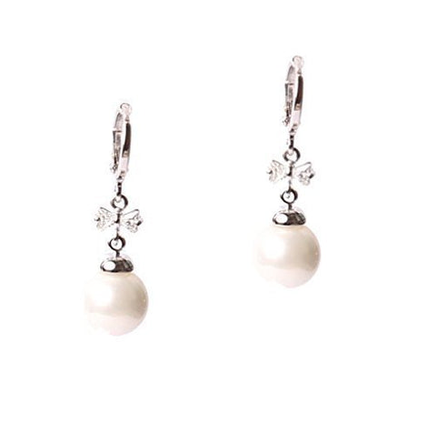 Fresh Water Pearl Austrian Crystal Element Dangle Rhodium Plated Earring Lever Back