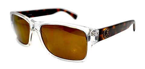 GUESS Men's Rectangular Style Sunglasses Clear Plastic Frame & Brown Tortoise Shell Arms Brown Lenses CAT 3 - GU6647