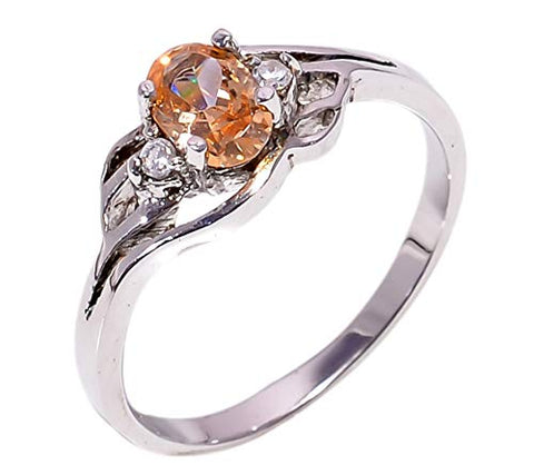 Bullahshah Women 925 Sterling Silver Morganite & White Topaz Gemstone 6 US Size Ring NLG-1583