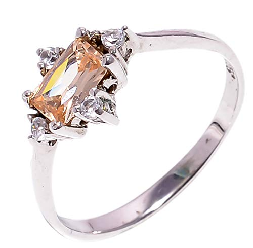 Bullahshah Women 925 Sterling Silver Morganite & White Topaz Gemstone 7.25 US Size Ring NLG-1562