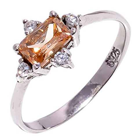 Bullahshah Women 925 Sterling Silver Morganite & White Topaz Gemstone 6.75 US Size Ring NLG-1576