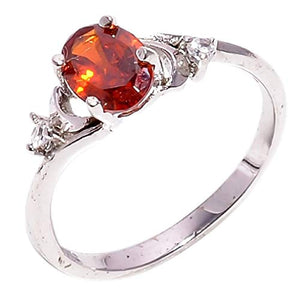 Bullahshah Women 925 Sterling Silver Spessartite Garnet & White Topaz Gemstone 5.5 US Size Ring NLG-1551
