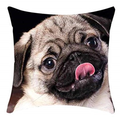 Cute Pug Puppy Animal Print Black Square 18 x 18 Cushion Cover, Pillowcase for Sofa, Bed, Couch