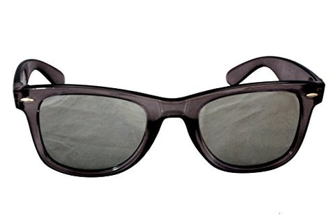 Foster Grant FG24 Unisex Way Shape Sunglasses Grey Plastic Frame & Arms Silver Mirror Lenses 100% UV Protection CAT 2