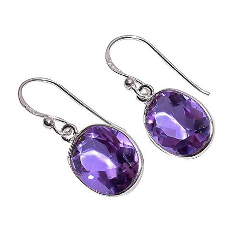 925 Sterling Silver Handmade Purple Iolite Gemstone Dangle Drop Earrings NLG-832