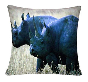 Rhinoceroses Animal Print Chenille Cotton 17 x 17 inch Cushion Cover Pillowcase for Sofa Bed Couch