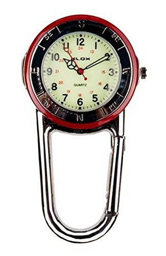 Klox Shiny Silver Clip On Carabiner Red & Silver Bezel Luminous Face FOB Watch for Doctors Nurses Paramedics Chefs