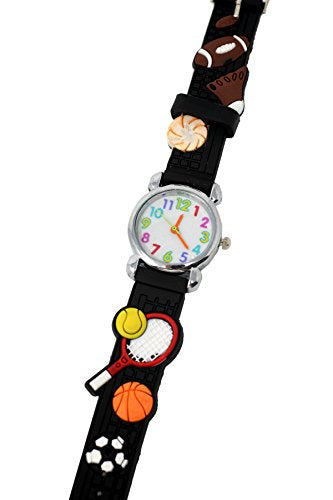 Soft Silicone Unisex Tennis Theme Wrist Watch Fun Kids Silver Multicoloured Number Dial Analog Quartz Movement