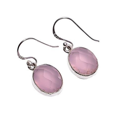 925 Sterling Silver Handmade Pink Rose Quartz Gemstone Earrings