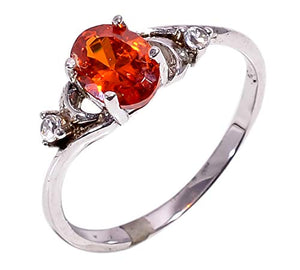 Bullahshah Women 925 Sterling Silver Spessartite Garnet & White Topaz Gemstone 6 US Size Ring NLG-1588