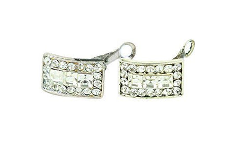 Beautiful Rhodium Plated Clear Crystal Stud Earring Clip-on