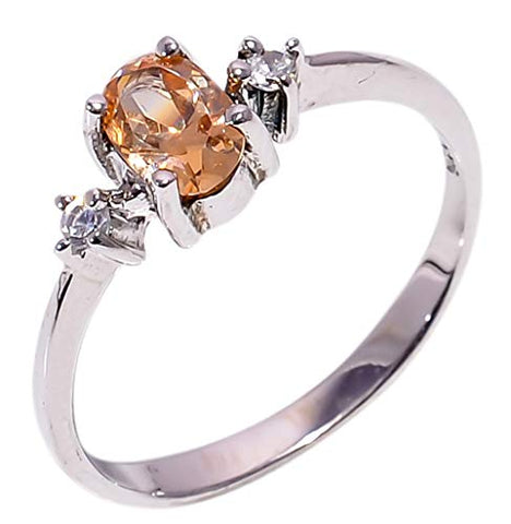 Bullahshah Women 925 Sterling Silver Morganite & White Topaz Gemstone 5.5 US Size Ring NLG-1581