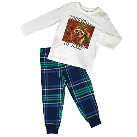 Cute Raccoon White & Tartan Cotton Pyjama Shirt Set, Full Sleeves Cuffed Pyjamas Nightwear for Boys and Girls