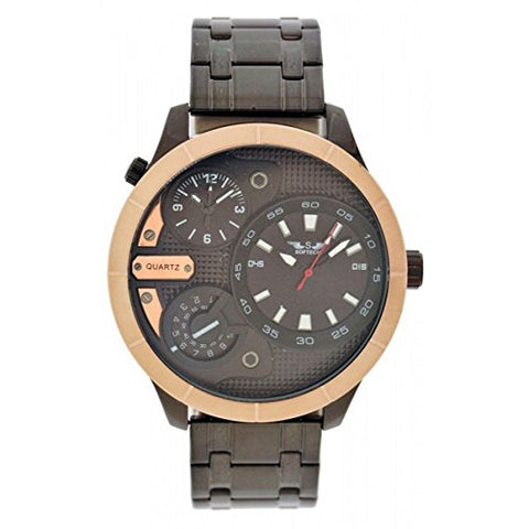 Softech Men's Dual Time Gun Black Strap with Rose Gold Bezel Metal Wrist Watch Fold Over Clasp Extra Battery