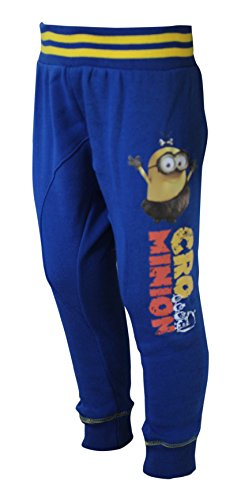 Official Minions Plush Jersey Blue Ribbed Cuff Tracksuit Bottoms Sports Gym Joggers for Boys Kids Children