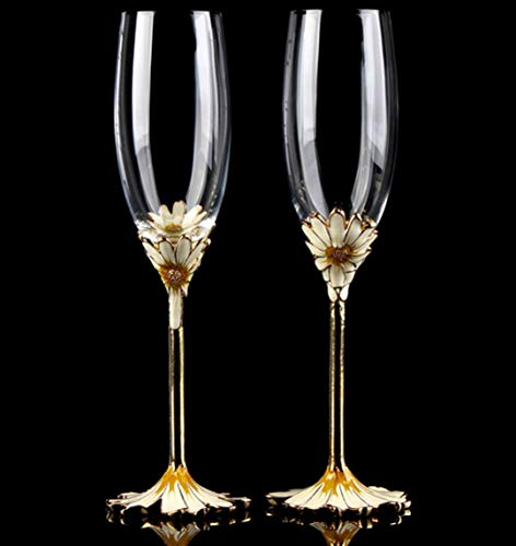 RORO Inspired Enameled and Jeweled Bohemian Crystal Floral Design Champagne Flute Glasses, Wedding Gift, Luxury Home Accessories