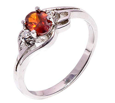 Bullahshah Women 925 Sterling Silver Spessartite Garnet & White Topaz Gemstone 5.75 US Size Ring NLG-1572