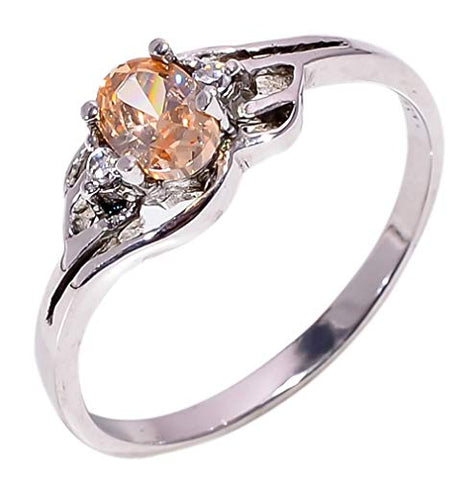 Bullahshah Women 925 Sterling Silver Morganite & White Topaz Gemstone 8 US Size Ring NLG-1587