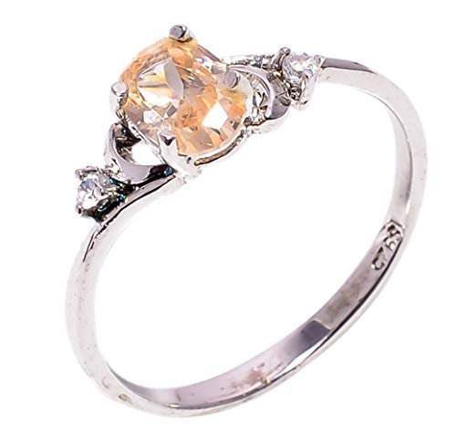 Bullahshah Women 925 Sterling Silver Morganite & White Topaz Gemstone 7.5 US Size Ring NLG-1561