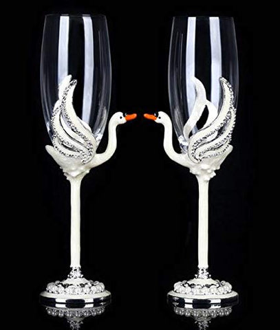 RORO Inspired Enameled and Jeweled Bohemian Crystal Lovely Swans Champagne Flute Glasses, Wedding Gift, Luxury Home Accessories