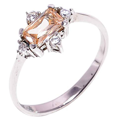 Bullahshah Women 925 Sterling Silver Morganite & White Topaz Gemstone 6.5 US Size Ring NLG-1569