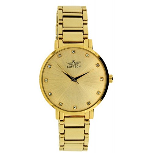 Softech Latest Gold Plated Strap & Dial Ladies Diamante Bracelet Metal Wrist Watch Analog Quartz Extra Battery