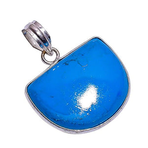 Sterling Silver Overlay Handmade Reconstituted Arizona Turquoise Pendant Girl's Women's Necklace Pendant Rhodium Plated Chain NLG-397