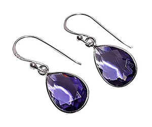925 Sterling Silver Handmade Purple Iolite Gemstone Dangle & Drop Earrings for Women