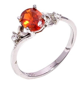 Bullahshah Women 925 Sterling Silver Natural Spessartite Garnet White Topaz Gemstone 5.25 US Size Ring NLG-1507