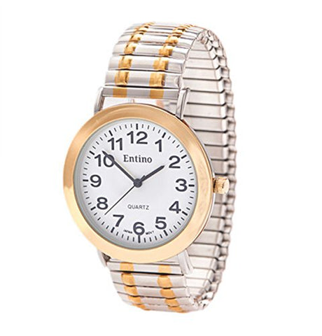 Entino Unisex 2 Tone Silver and Gold Expander Wrist Watch Analog Display Japanese Quartz Movement with Bracelet ENT-TT
