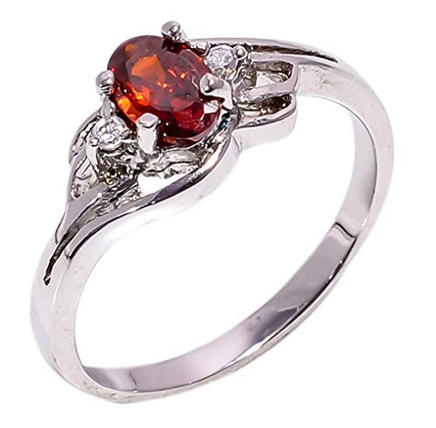Bullahshah Women 925 Sterling Silver Natural Hessonite Garnet & White Topaz Gemstone 5.25 US Size Ring NLG-1585