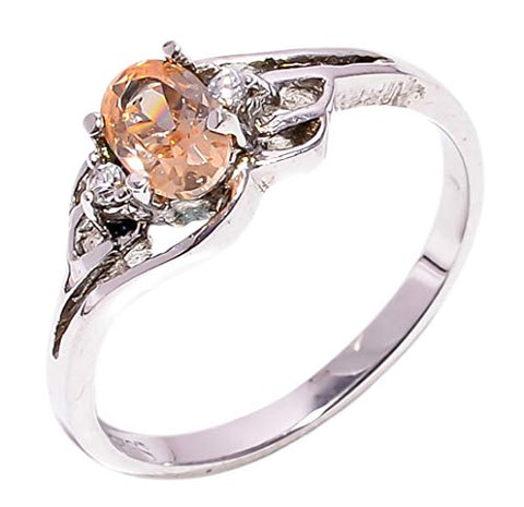 Bullahshah Women 925 Sterling Silver Morganite & White Topaz Gemstone 6.25 US Size Ring NLG-1571