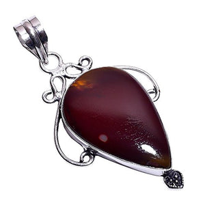 Sterling Silver Overlay Handmade Mookaite Pendant Girl's Women's Necklace Pendant Rhodium Plated Chain  NLG-463