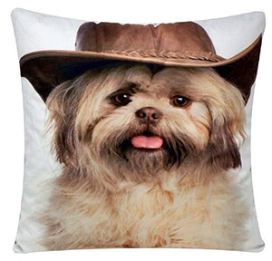 Cowboy Dog Animal Print Chenille Cotton 17 x 17 inch Cushion Cover Pillowcase for Sofa Bed Couch