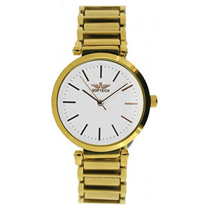 Softech Women's Gold Plated Dial & Strap White Face Bracelet Metal Wrist Watch Analog Quartz with One Extra Battery