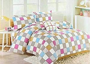 Bullahshah Multicolored Luxurious Check Design Duvet Cover Bedding Set with Pillowcases