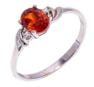 Bullahshah Women 925 Sterling Silver Spessartite Garnet & White Topaz Gemstone 8 US Size Ring NLG-1580