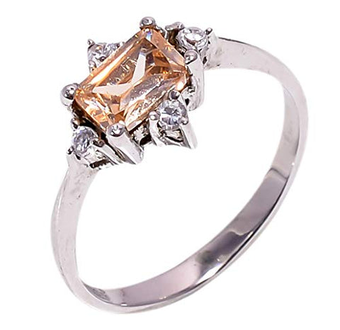 Bullahshah Women 925 Sterling Silver Morganite & White Topaz Gemstone 5.5 US Size Ring NLG-1586