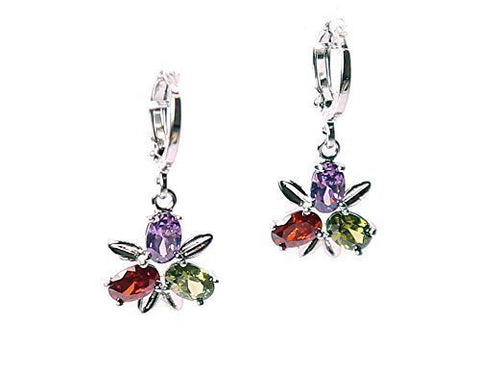 Multi-Colour Austrian Crystal Element Drop Dangle Rhodium Plated Earring Lever Back