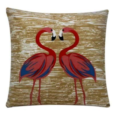 Bullahshah Flamingo Print Chenille Cotton Square 17 x 17 inch Cushion Cover Pillowcase for Sofa Bed Couch