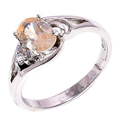 Bullahshah Women 925 Sterling Silver Morganite & White Topaz Gemstone 5.25 US Size Ring NLG-1573