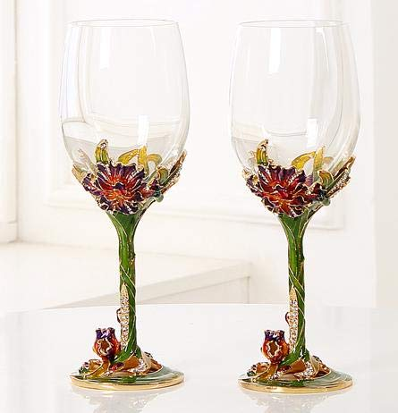 RORO Inspired Enameled and Jeweled Bohemian Crystal Wine Goblets Glasses, Wedding Gift, Luxury Home Accessories