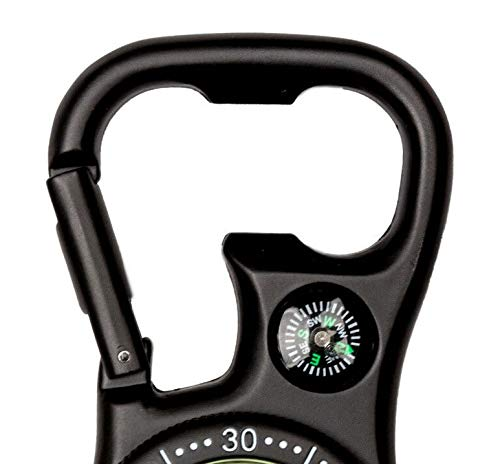 Black Clip-On Carabiner FOB Watch with Compass for Doctors Nurses Paramedics Chefs
