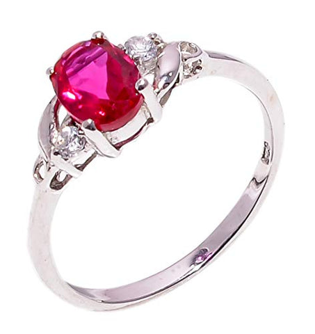 Bullahshah Women 925 Sterling Silver Rubellite Quartz & White Topaz Gemstone 6 US Size Ring NLG-1567