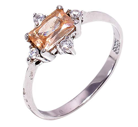 Bullahshah Women 925 Sterling Silver Morganite & White Topaz Gemstone 5.5 US Size Ring NLG-1577